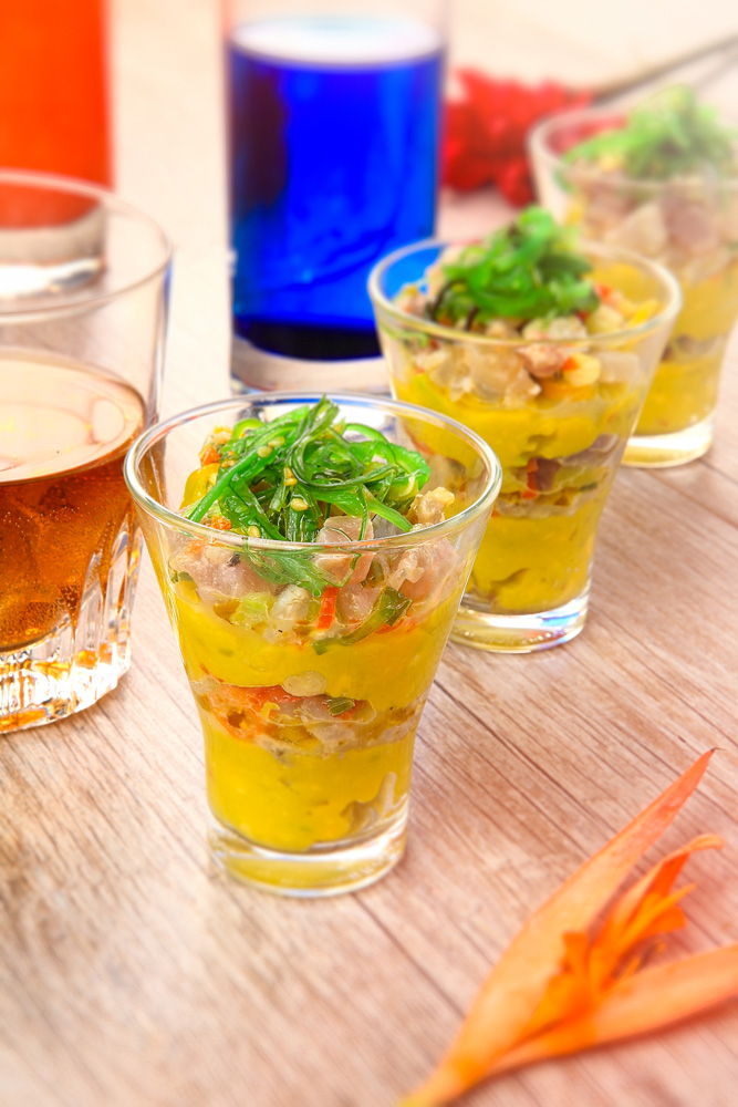 verrines-tartare- poisson-fume- guacamole